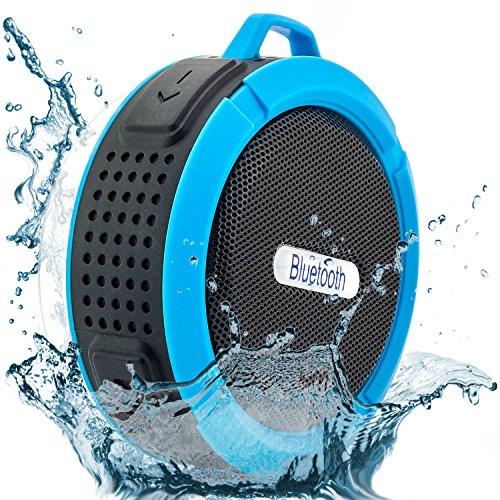 Saxonia Bluetooth Lautsprecher Mini Outdoor Speaker 5W Mobil mit Saugnapf für Dusche Bad Sport Camping (wasserdicht) Blau