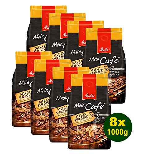 Melitta Mein Café Mild Roast, Kaffeebohnen, 8x 1000g (8000g) - Kaffee mit feiner fruchtiger Note! (Medium-roast-kaffee)