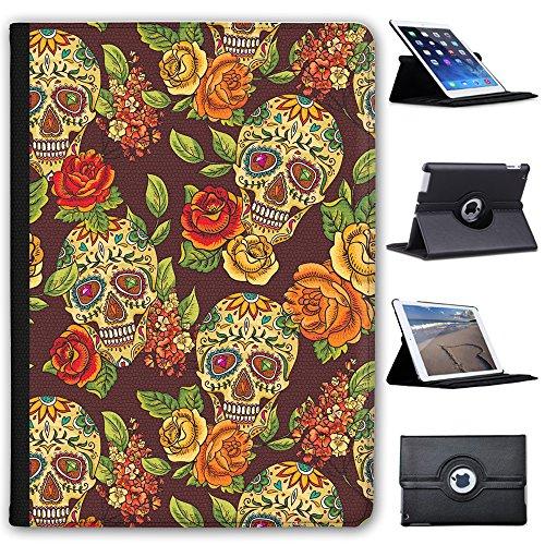 Fancy A Snuggle Bemalte Totenköpfe mit Edelsteinen & Blumen Case Cover/Folio aus Kunstleder für Das Apple iPad AIR 2 (2nd Generation) - Blumen Cases Ipad 2. Generation