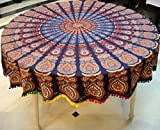 #6: Round TableCloth Blue Base With Multi Color Pom Pom Less 65 Inch