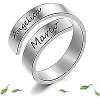 Anelli Donna Personalizzato 2 Nomi Twist Ring Incisione in Acciaio Inossidabile Anelli Regolabili Uomo Anniversario…