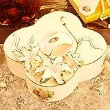 Contenitore per caramelle WLQ - piatto di frutta europeo - piatto snack per soggiorno in casa - piatto di frutta secca in ceramica - scomparto con coperchio contenitore per caramelle,gloria mattutin,piatto di frutt XCF