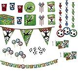 Partyset Fussballparty 86-teilig Teller, Becher, Servietten, Partytüten, Trinkhalme, Wimpelkette, Einladungen, Partypicker, Rotorspiralen, Happy Birthday-Girlande, Geburtstagskerzen und Tischdecke