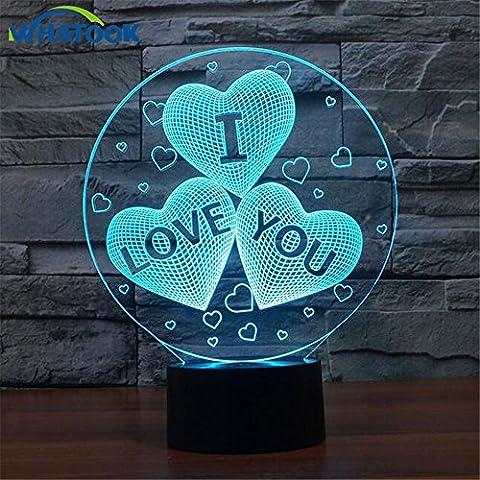 3D Illusion Lampe USB 3D Herz ICH LIEBE DICH, LED-Nachtlicht mit 3D-hell Dekor Tischleuchte Nachtlicht für Valentinstag Geschenk