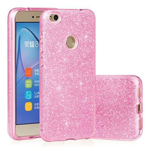 EGO ® Glitzer Schutzhülle für Huawei P8 Lite, Pink Back Case Bumper Glänzend Transparente TPU Bling Weiche Glamour Handy Cover Lipgloss Pink + Glas