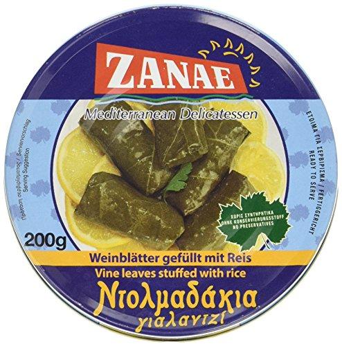 Weinblätter (Zanae Weinblätter mit Reis, in Öl, 3er Pack (3 x 200 g Packung))