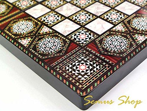 Orientalisches LUXUS Backgammon HOLZ TAVLA XXL Intarsien Look 50 X 50 cm