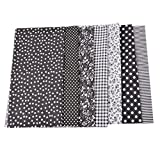 MeineBeauty 7 Stück Patchwork Stoffe DIY Gewebe Set Gemischte Baumwolletuch Stoffpaket zum Nähen Tischdecke mit vielfältigem Muster(25cmx25cm) (schwarz)