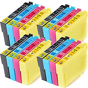 Compatible Non-oem Epson Workforce WF-2750DWF Ink Cartridges 4X Black 4X Cyan 4X Magenta 4X Yellow (16-Pack)