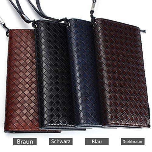 Ruiying Herren Jungen Große Kapazität Luxus PU- Leder-Geldbörse mit Reißverschluss-Tasche Geschäftsbrieftasche 19.5*12*2cm (Schwarz) Braun
