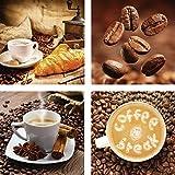 ARTland Qualitätsbilder I Glasbilder Deko Glas Bilder 20 x 20 cm mehrteilig Ernährung Genuss Getränke Kaffee Foto Braun F2BE Kaffeetasse mit Croissant. Nahaufnahme Kaffeebohnen. Tasse und Leinensack. Kaffee Pause