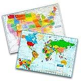 Kappa Vereinigten Staaten Wandkarte USA POSTER, Schule/Zuhause/Büro 2 Pack (US and World)