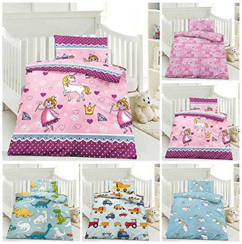 Kinder Bettwäsche, Babybettwäsche 100x135 cm + 40x60 cm 100% Microfaser für Jungen und Mädchen in verschiedenen Designs, Lola Pink (Kleinkind Mädchen Bettwäsche)