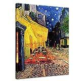 Wandbild Vincent Van Gogh Caféterrasse am Abend - 60x80cm hochkant - Alte Meister Berühmte Gemälde Leinwandbild Kunstdruck Bild auf Leinwand