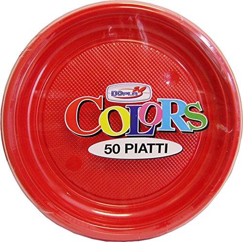 Dopla Spa - Lot de 50 assiettes Fruits, rouge, 132030.22
