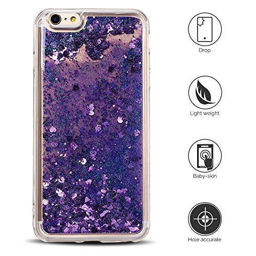 Cover iPhone 6 Custodia iPhone 6s Liquido Anfire Trasparente Rigida Duro Plastica Gel Case per Apple iPhone 6/6s (4.7 Pollici) Morbida Silicone Sabbie Mobili Shell 3D Bling Glitter Cuore Floating Quic Viola