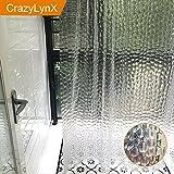 3D Wasserdichte Duschvorhang - Crazylynx Badewanne Duschvorhang EVA Anti-Bakterien Anti-Mildew Morden Mode Bad Vorhänge Liner Set mit 12 Haken Geschenke für zu Hause Hotel Badezimmer Dekorative Clear