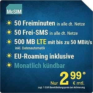 Sim Karte Monatlich Kündbar.Mcsim Lte Mini 500 Sim Micro Sim Und Nano Sim Monatlich Kündbar 500 Mb Lte Mit Max 50 Mbit S Inkl Datenautomatik 50 Freiminuten 50 Frei Sms
