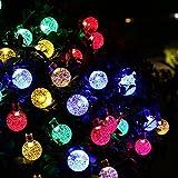 OxyLED Solar Lichterkette,30LED Solar Garten Lichterkette Außen sbeleuchtung Kristall Kugel Beleuchtung Deko für Fest,Halloween,Hochzeiten,Feiern,Weihnachten,buntes Licht [Energy Class A ++]