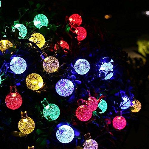 Solar Lichterkette, OxyLED 30LED Solar Garten Lichterkette Außen sbeleuchtung Kristall Kugel Beleuchtung Beleuchtung Deko für Fest, Halloween, Hochzeiten, Feiern, Weihnachten -buntes Licht [Energy Class A ++]