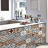 DMZH 100 STÜCKE New Turkish Ceramic Pattern Fliesen Aufkleber Dekorative Aufkleber Reise Aufkleber Kreative Rutschfeste Selbstklebende Wandtattoos Floor Sticker,B15cm*15Cm