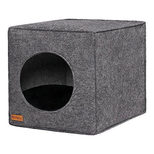 ANIMALY Pets Cave aus Filz, Maße: 33x33x38 cm, faltbare und leichte Kuschelhöhle für Hunde und Katzen, robustes und widerstandsfähiges Material, passt an die IKEA-Regale (Black/Grey)