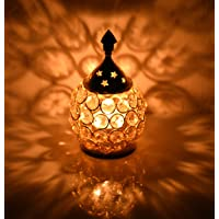 Collectible India Crystal Akhand Diya for Puja – Brass Decorative Items Oil Lamp Tea Light Holder Lantern Oval Shape Pooja Gifts Home Decor(Oval Small)