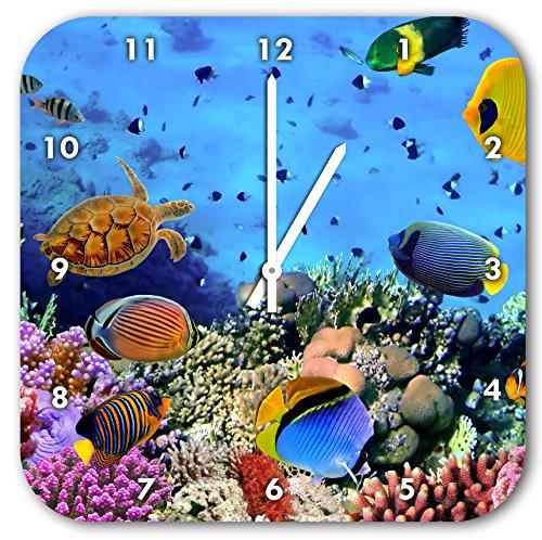 Bunte Fische über Korallenriff, Wanduhr Quadratisch Durchmesser 28cm mit weißen spitzen Zeigern und Ziffernblatt, Dekoartikel, Designuhr, Aluverbund sehr schön für Wohnzimmer, Kinderzimmer, - Fisch-wand-uhr