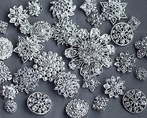 20 Assorted Rhinestone Button Brooch Embellishment Pearl Crystal Flower Hair Comb Clip Wedding Bouquet Brooch Supplies BT134 by Your Perfect Gifts