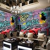Murale Ferrari Voiture De Sport Ville Graffiti Murales 3D Restaurant Café Bar Fond Peinture
