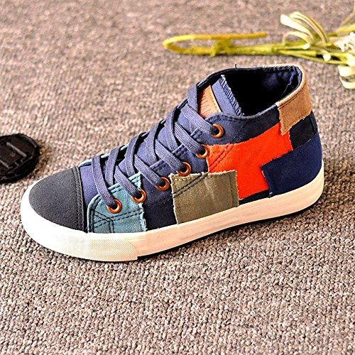 NSX High Top piani delle donne inferiore Lace-Up casuale di tela Athletic Shoes Skate Sneakers , 36 , army green DEEPBLUE-35