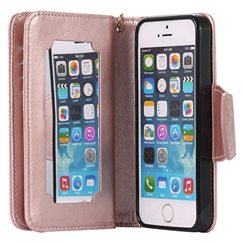Custodia iPhone 5Sr, Cove Pelle Stand Case Magnetico Flip ID Slot Stampata Morbido Folio PU Leather Super Sottile TPU Interno Case Wallet ProtettivaScheda Goffratura Ragazza Farfalla+ Stylus Pen,oro r model 7