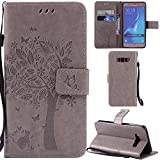 Ooboom® Samsung Galaxy J5 2016 Case Cat Tree Pattern PU Leather Flip Cover Wallet Stand with Card/Cash Slots Packet Wrist Strap Magnetic Clasp for Samsung Galaxy J5 2016 - Gray