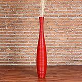 Leewadee Große Bodenvase 90 cm, Mangoholz, Rot
