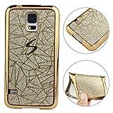 SM-G900F Case, Samsung Galaxy S5 Neo Schutzhülle Glitzer, Rosa Schleife Ultra dünn Slim Backcover Premium Soft TPU Silikon mit Bling Shiny kristall Design S5 Hülle Bumper Schale für Samsung Galaxy S5 - Gold