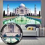 Fototapete Taj Mahal Wandbild Dekoration Sehenswürdigkeiten Tadsch Mahal Weltwunder Tempel Dom Religion Agra Indien Kultur | Foto-Tapete Wandtapete Fotoposter Wanddeko by GREAT ART (210 x 140 cm)