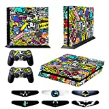 Jeux PS4 Skins Sony PS4 Vinly Decals Playstation 4 Console System plus Two(2) Stickers: Play Station 4 Controller - Doodle