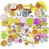 12 Pcs Kawaii Mini Soft Squishy Foods Panda Bread Bun Toasts Multi Donuts Phone Straps Charm Kids Toy Gift, Style Random by HONGTIAN