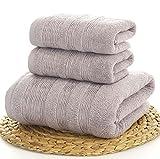 JUNHONGZHANG 3 Pcs Dicker Bad Handtuch Sets 100% Baumwolle Luxus 1 Pc Badetuch 70 X 140 cm+2 Pcs Gesicht Handtuch 35 X 75 cm Für Erwachsene Mens Handtuch, Grau