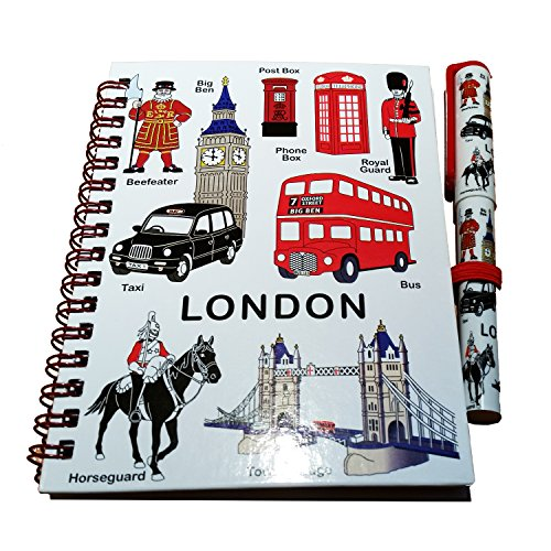 Medium Notebook and Matching Pen Set with London Everything Design Print - London Souvenir Note Pad with images on the front of the notebook and on the Pen of a Bus, Taxi, Royal Guard, Tower Bridge, Big Ben, Telephone Box, Post Box and a Beefeater