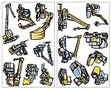 16 set ruspa e macchinari per costruzioni Gru Camion da parete adesivo Sticker, multicolore, 2x 16x26cm