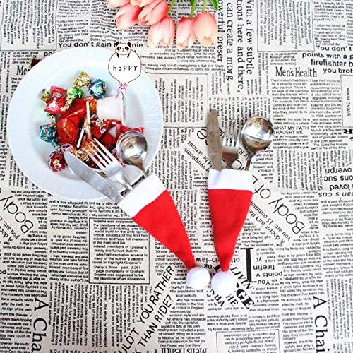 Gaddrt Weihnachtsgeschirr Weihnachten dekorative Geschirr Messer Gabel Set Weihnachten Hut Storage Tool 12 * 6cm