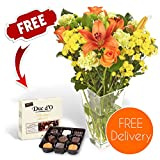 Fresh Flowers Delivered - Free UK Delivery - Warm Spring Bouquet with Chrysanthemums and Carnations, including Free Chocolates, Flower Food and Bonus Ebook Guide - Perfect For Birthdays, Anniversaries and Thank You Gifts