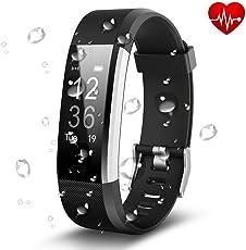 Antimi Fitness Armband, Wasserdicht IP67 Fitness Tracker, Pulsuhren, Schrittzähler, Kamerasteuerung, Vibrationsalarm Anruf SMS Whatsapp Beachten kompatibel mit iPhone Android Handy