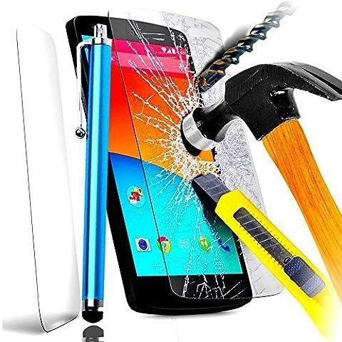 A&D® FILM PROTECTION Ecran en VERRE Trempé pour IPHONE 5 5C 5S filtre protecteur d'écran INVISIBLE & INRAYABLE vitre INCASSABLE pour Smartphone Apple 5G 5GS (+ STYLET BLEU Turquoise)