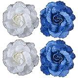 Majik Hair Decorations Flowers (2 Blue+ 2 White)