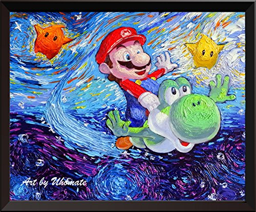 uhomate Super Mario Bros, unter dem Meer Wand Decor Vincent van Gogh Starry Night Poster Leinwandbild Home Kunstdruck Jahrestag Geschenke Baby Kinderzimmer Decor Wohnzimmer Wall Decor A083, 8x10 inch