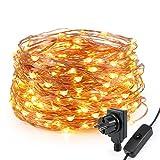 Kohree 20m 200 LEDs Lichterkette Sterne Warmweiß Kupferdraht Lichterkette Wasserdicht mit ON/OFF Schalter für Weihnachten Party Hochzeit Garten [Energie Klasse A +]