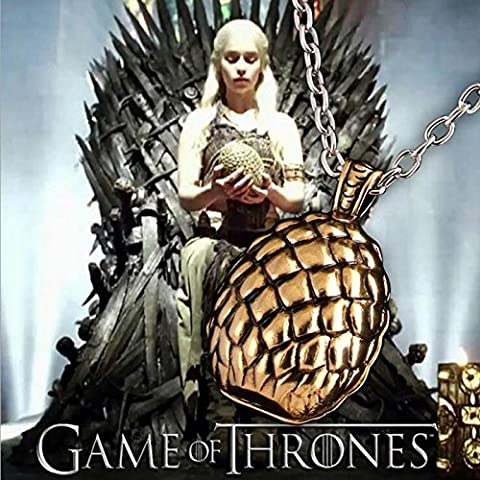 Buy any 2 & get 1 FREE! Golden Dragon Egg Pendant Game of Thrones Necklace Khal Khaleesi Hand To The King Tywin Lannister GOT Dragon Steampunk Song Ice Fire Lapel And Metal Stark Silver Replica Unique Fashion Jewellery Silver or Gold Double Vintage Hot Fashion Trend (Khaleesi Gold Dragon Egg