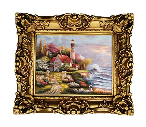 Hong Art CS1819 Kunstdruck, gerahmt, Thomas Kinkade, Barock-Gartendruck, Kunstharz, Antik-Optik, Gold-Finish -